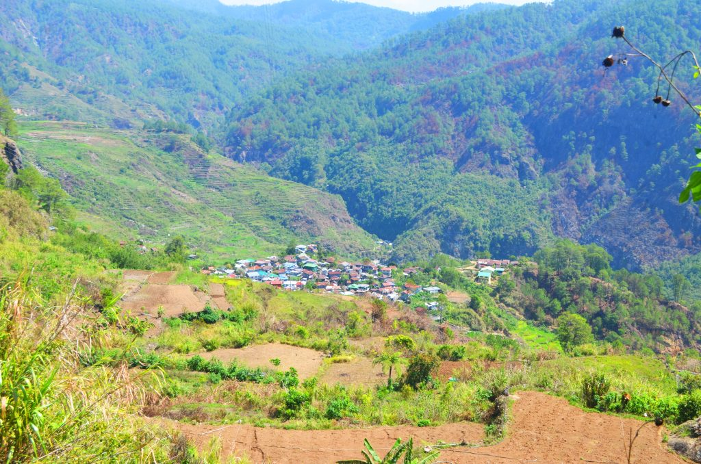Distant view of barangay Fidelisan in Sagada, Mountain Province.