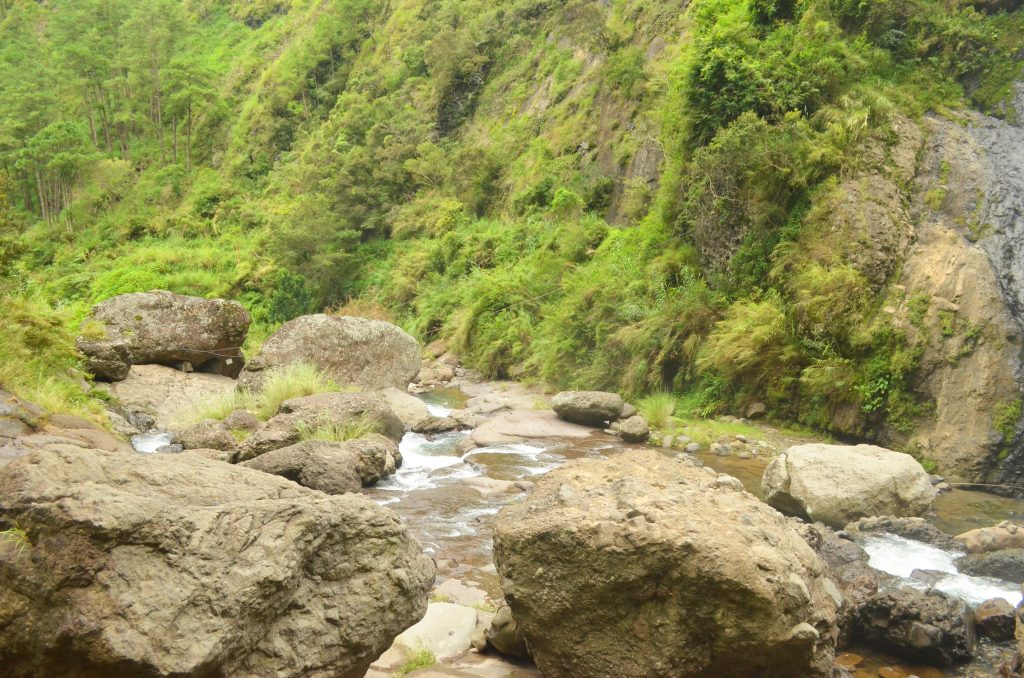Big boulders in Pongas Falls in Sagada