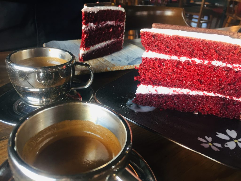Brewed Arabica Coffee with Red Velvet Cake served in Mt Kalugong Cafe