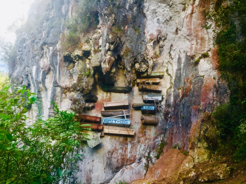 A close-up view of Sagada hanging coffins